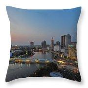 D2l448 Columbus Ohio Night Skyline Photo Throw Pillow