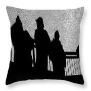 Dad And Three Boys Throw Pillow