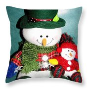 Daddy And Baby Snowmen Decorations Throw Pillow