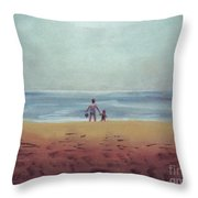 Daddy At The Beach Throw Pillow