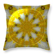Daffodil And Easter Lily Kaleidoscope Under Glass Throw Pillow