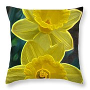 Daffodil Duet By Jrr Throw Pillow