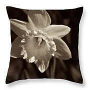 Daffodil In Black And White Throw Pillow