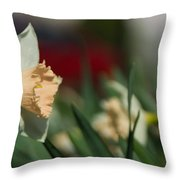 Daffodil With A Splash Of Red Throw Pillow