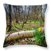 Daffodils And Birch Throw Pillow
