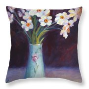 Daffodils And Cherries Throw Pillow