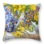 Daffodils Antique Jugs Plates Textiles And Lace Throw Pillow