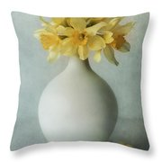Daffodils In A White Flowerpot Throw Pillow