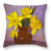 Yellow Daffodils On Purple Throw Pillow