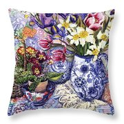 Daffodils Tulips And Iris In A Jacobean Blue And White Jug With Sanderson Fabric And Primroses Throw Pillow