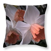Daffodils With Coral Center Throw Pillow