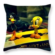Daffy Tweety And Johnny Throw Pillow