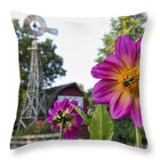 Dahlia Bee And Windmill Throw Pillow