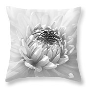 Dahlia Flower Soft Monochrome Throw Pillow