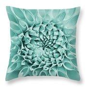Dahlia Flower Star Burst Teal Throw Pillow