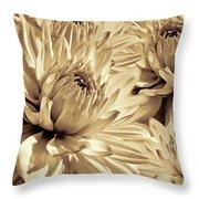 Dahlia Flowers Bouquet Sepia Throw Pillow