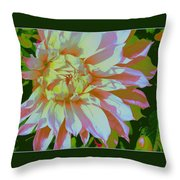 Dahlia In Pink And White Throw Pillow