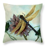 Dahlia With Dragonfly Resting Throw Pillow