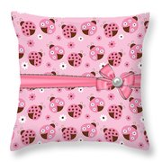 Dainty Little Ladybugs  Throw Pillow