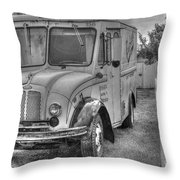Dairy Truck - Old Rosenbergers Dairies - Black And White Throw Pillow