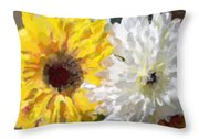 Daisies And Sunflowers - Impressionistic Throw Pillow