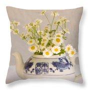 Daisies In A Teapot Throw Pillow