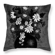 Daisies In Black And White Throw Pillow