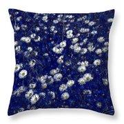 Daisies In Blue Fire Throw Pillow