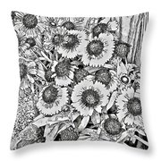 Daisies In Relief Throw Pillow