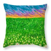 Daisies In The Park Throw Pillow