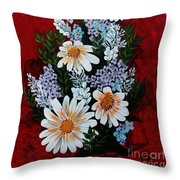 Daisies Lilacs And Forget Me Nots Throw Pillow