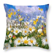 Daisies On A Hill - Impressionism Throw Pillow