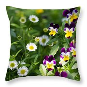 Daisy And Pansy Mix Throw Pillow