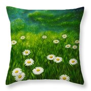 Daisy Meadow Throw Pillow