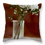 Daisy Mum On Red 2 Throw Pillow