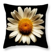Daisy On Black Square Fractal Throw Pillow