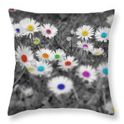 Daisy Rainbow Throw Pillow
