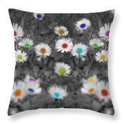 Daisy Rainbow Throw Pillow