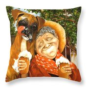 Daisy's Mocha Latte Throw Pillow by Shelly Wilkerson
