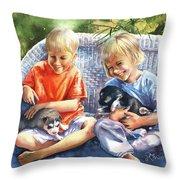 Dakotas Puppies Throw Pillow