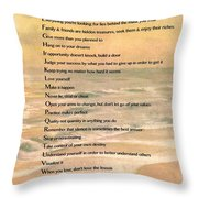 Dalai Lama A To Zen Of Life Typography On Watercolor Ocean Sunset Throw Pillow