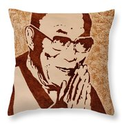 Dalai Lama Original Coffee Painting Throw Pillow
