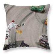 Dale Earnhardt Wins Daytona 500-checkered Flag Throw Pillow