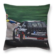 Dale Earnhardt Wins Daytona 500-pit Road Hand Shake Throw Pillow