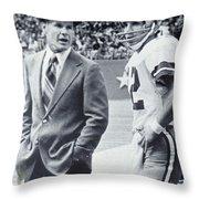 Dallas Cowboys Coach Tom Landry And Quarterback #12 Roger Staubach Throw Pillow