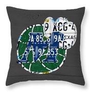Dallas Mavericks Basketball Team Retro Logo Vintage Recycled Texas License Plate Art Throw Pillow