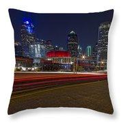 Dallas Skyline At Night Throw Pillow