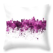 Dallas Skyline In Pink Watercolor On White Background Throw Pillow