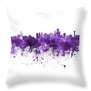 Dallas Skyline In Purple Watercolor On White Background Throw Pillow