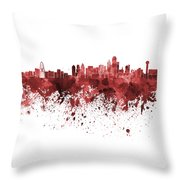 Dallas Skyline In Red Watercolor On White Background Throw Pillow